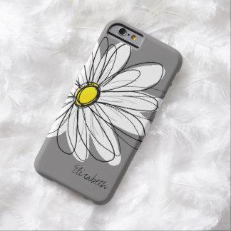 Ejemplo floral de la margarita de moda - gris y funda para iPhone 6 barely there