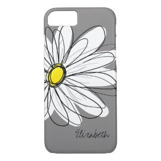 Ejemplo floral de la margarita de moda - gris y funda iPhone 7