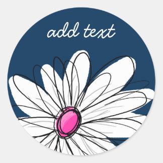Ejemplo floral de la margarita de moda - marina de pegatina redonda