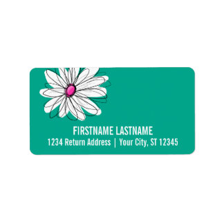Ejemplo floral de moda de la margarita - rosa y etiquetas de dirección