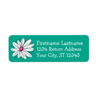 Ejemplo floral de moda de la margarita - rosa y etiqueta de remite