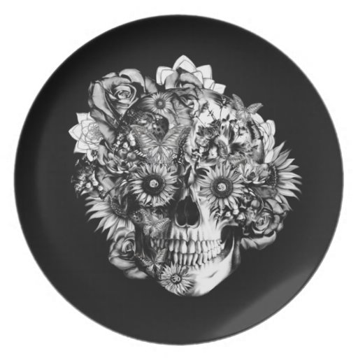 Ejemplo floral del cráneo del ohmio en blanco y ne plato de comida