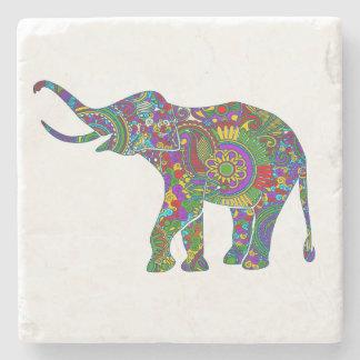 Ejemplo floral del elefante de los colores posavasos de piedra