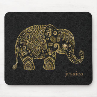 Ejemplo floral del elefante de Paisley del oro Tapetes De Ratones