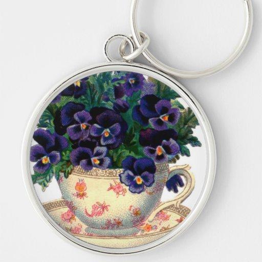 Ejemplo floral francés del pensamiento del vintage llaveros