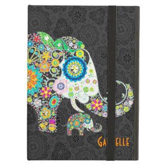 Ejemplo floral retro lindo colorido del elefante