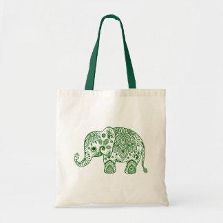 Ejemplo floral verde lindo del elefante de Paisley Bolsa Tela Barata