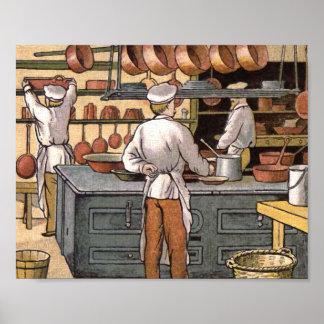 Ejemplo francés de la cocina del vintage póster