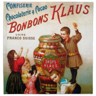 Ejemplo francés de la publicidad del caramelo del servilletas imprimidas
