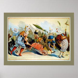 Ejemplo francés del vintage de cinco payasos póster