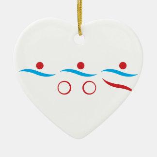 Ejemplo fresco del logotipo del Triathlon Adorno De Cerámica En Forma De Corazón