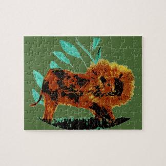 Ejemplo frondoso del animal salvaje del león rompecabezas
