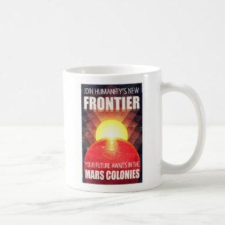 Ejemplo futurista retro de la colonización de taza de café