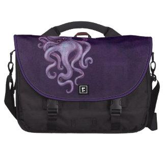 Ejemplo gastado del pulpo del vintage - púrpura bolsa de ordenador