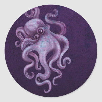 Ejemplo gastado del pulpo del vintage - púrpura pegatina redonda