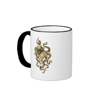 Ejemplo gastado del pulpo del vintage taza de café