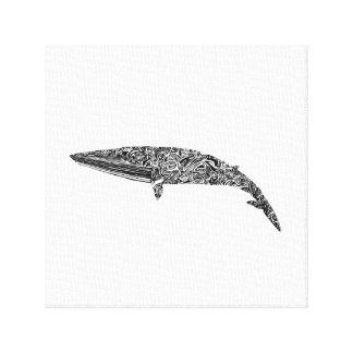 Ejemplo gráfico tribal de la ballena pequeña impresión en lona estirada