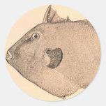 Ejemplo gris del Triggerfish Etiqueta Redonda