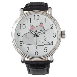 Ejemplo gris lindo del gato, dibujo felino relojes de pulsera