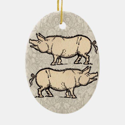 Ejemplo guarro de la antigüedad del cerdo del adorno ovalado de cerámica