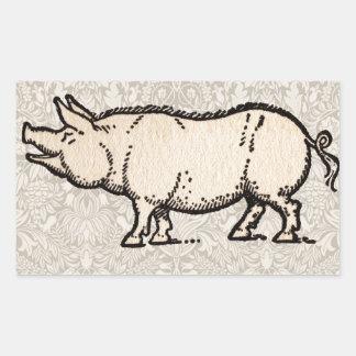 Ejemplo guarro de la antigüedad del cerdo del pegatina rectangular