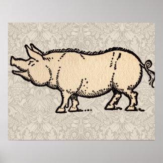 Ejemplo guarro de la antigüedad del cerdo del vint póster