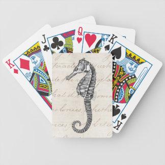 Ejemplo hawaiano del caballo de mar de los 1800s baraja cartas de poker