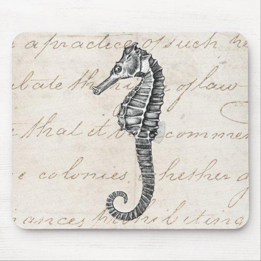 Ejemplo hawaiano del caballo de mar de los 1800s d alfombrillas de raton