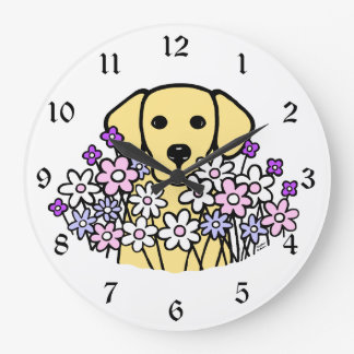Ejemplo hermoso 2 de Labrador del amarillo del alm Reloj Redondo Grande