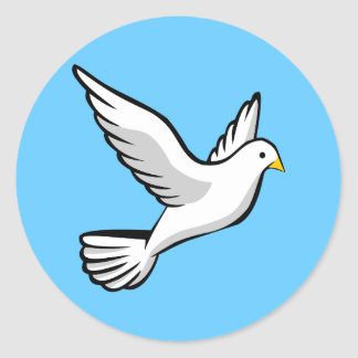 Ejemplo hermoso de la animación de la paloma del pegatina redonda