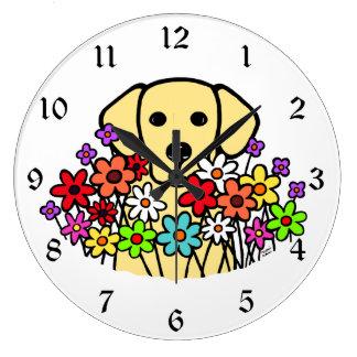 Ejemplo hermoso de Labrador del amarillo del alma Reloj Redondo Grande