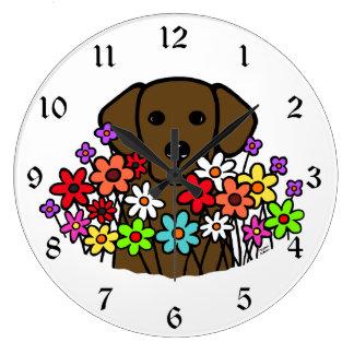 Ejemplo hermoso de Labrador del chocolate del alma Reloj Redondo Grande