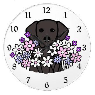 Ejemplo hermoso de Labrador del negro del alma Reloj Redondo Grande
