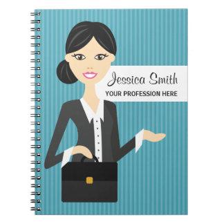 Ejemplo lindo de la mujer de negocios con el pelo  spiral notebook
