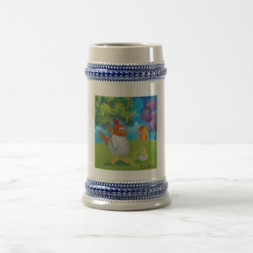 Ejemplo lindo del arte popular de la gallina del p tazas de café
