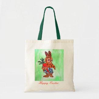 Ejemplo lindo del conejito de pascua con la bolsa tela barata