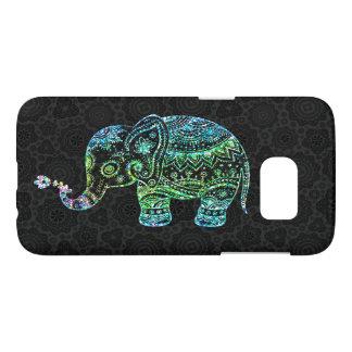 Ejemplo lindo del elefante del brillo azulverde fundas samsung galaxy s7