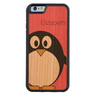 Ejemplo lindo del pingüino del dibujo animado con funda de iPhone 6 bumper cerezo