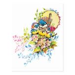 Ejemplo lindo del vintage de los pájaros tarjeta postal