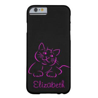 Ejemplo lindo personalizado del gato del gatito funda de iPhone 6 barely there