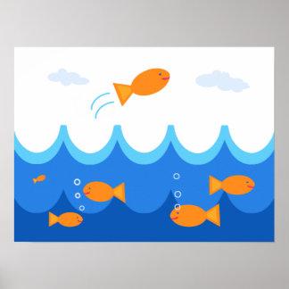 Ejemplo lindo y de la diversión del pez volador poster