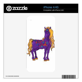 Ejemplo mágico violeta lindo de la fantasía del calcomanías para el iPhone 4S