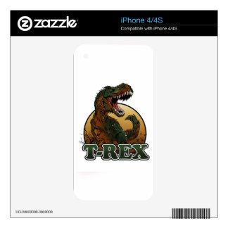 ejemplo marrón y verde del t-rex impresionante iPhone 4S calcomanía