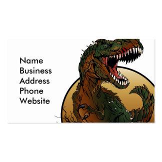 ejemplo marrón y verde del t-rex impresionante tarjetas de visita