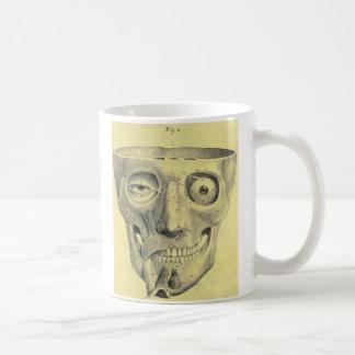 Ejemplo medieval del cráneo del kitsch retro del taza clásica