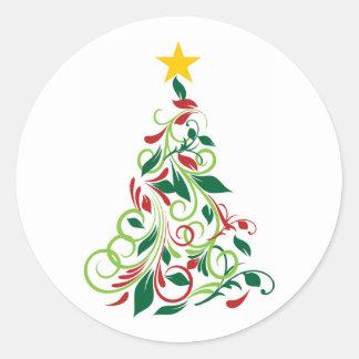 Ejemplo moderno elegante del árbol de navidad pegatina redonda