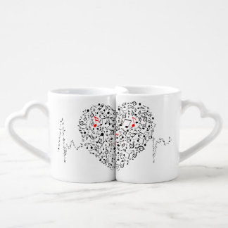 Ejemplo musical del corazón set de tazas de café