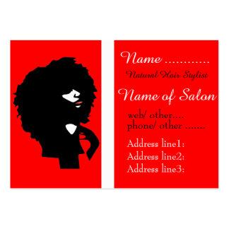Ejemplo natural elegante del pelo del Afro Tarjetas De Visita Grandes