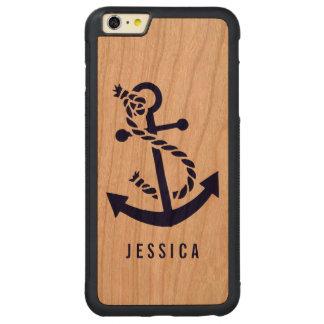 Ejemplo náutico del ancla de los azules marinos funda de cerezo bumper carved® para iPhone 6 plus