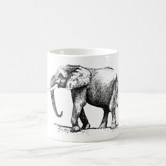 Ejemplo negro de un elefante taza de café